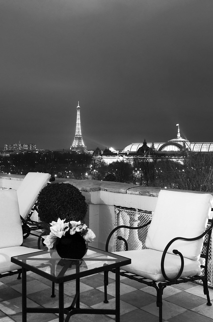 Terrace with magnificent view on the Eiffel tower of the Bernstein Suite at the Hôtel de Crillon Paris, France