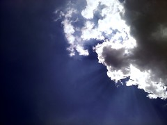 Sing me a song sky, (annieeleighh.) Tags: blue light sky sun white sunshine clouds alive beams thisclose