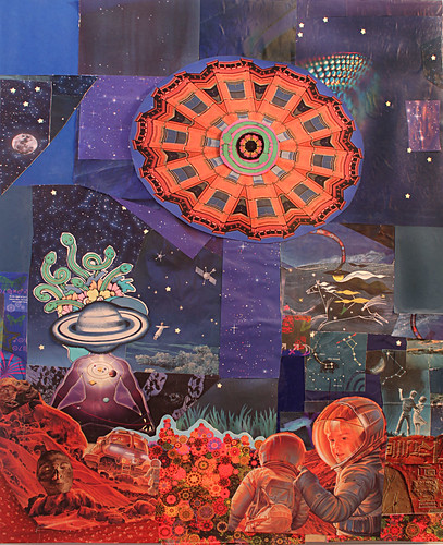 LARRY CARLSON, THE HEAVENLY GYRATIONS OF THE COSMIC ARMONICA, collage on wooden board, 2011, 36in x 28in.