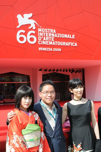 With my actresses Luchino Fujisaki and Qyoko Kudo at Venice Film Festival 2009