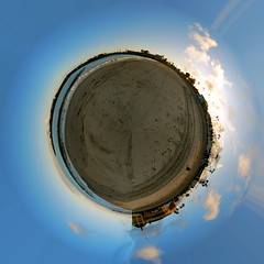 Beach World! (jkostrand) Tags: sunset santacruz beach clouds montereybay fisheye boardwalk stereographicprojection samyang8mmf35