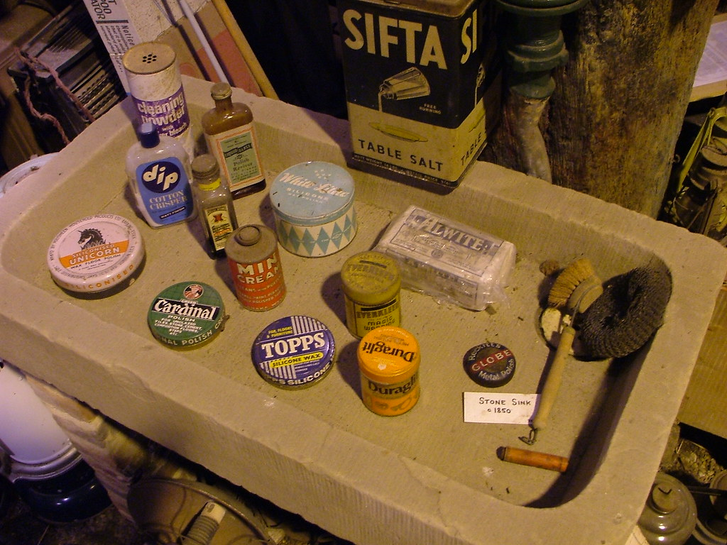Stone Sink full of old cleaning products, The Museum of Nostalgia, Upminster Tithe Barn