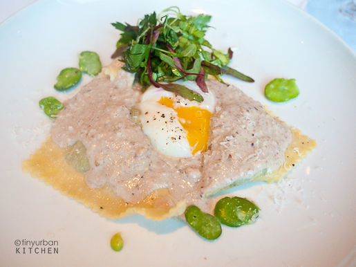 Pansôti… herb ravioli, nut sauce, farm egg from RIalto