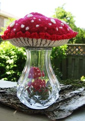 Cap on.... (woolly  fabulous) Tags: red wool mushroom recycled saltshaker felt tiny embroidered terrarium ecofriendly