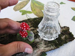 Salt shaker mushroom terrarium/pincushion (woolly  fabulous) Tags: red wool mushroom recycled saltshaker felt tiny embroidered terrarium ecofriendly