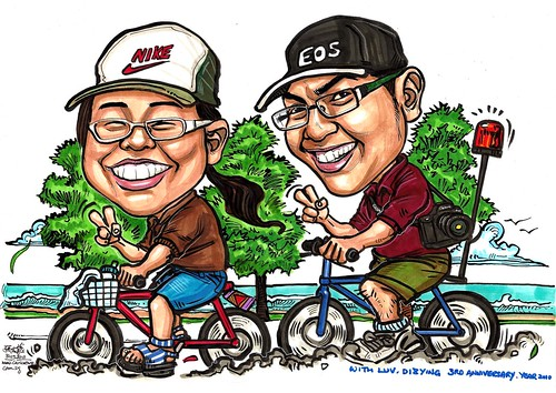 Couple caricatures cycling @ East Coast Park A3