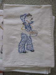 Adorable Jumpsuit Girl Embroidered Dishtowel