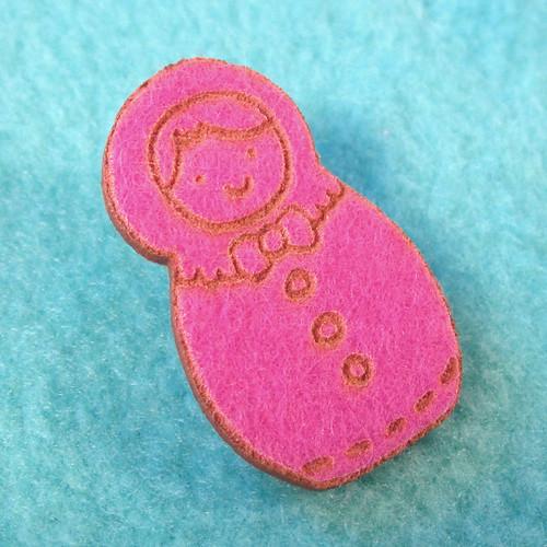 Matryoshka Felt Pin - Stitch Style 2