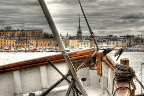 Stockholm and boat. Estocolmo y barco.