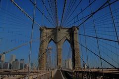 classic Brooklyn bridge (Desire) Tags: nyc bridge newyork bluesky cables brooklynbridge hdr before8am thankstojetlag bdaygetaway frombrooklynside