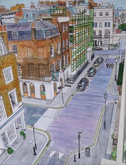 Motcomb Street, London (Fareed Suheimat) Tags: street city windows roof urban london art sign pen wow watercolor painting paper pub cityscape rooftops head watercolour lamps turks sw1 kinnerton fareed belgravia turkshead wiltoncrescent motcomb suheimat