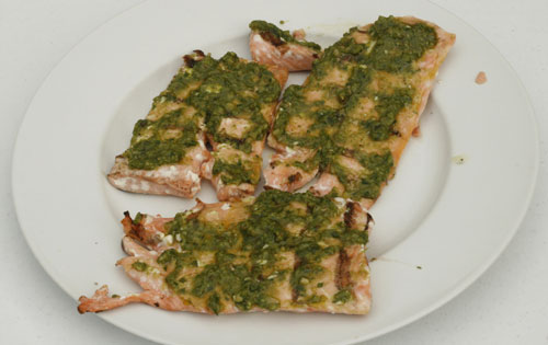 Grilled Pesto-Topped Salmon Recipe