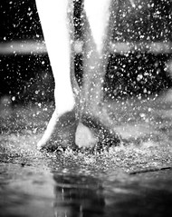 On the tips of my toes... (Olivia L'Estrange-Bell) Tags: blackandwhite feet water tiptoes