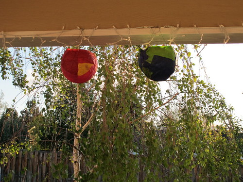 Lanterns on the back porch