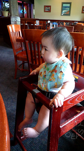 First time in a high chair at a restaurant