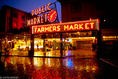 Seattle Public Market (justinwinget) Tags: road seattle fish reflection brick wet sign fruit photography lights neon farmersmarket farmers market creative vegetable seafood weathered produce pikeplacemarket iconic fishmarket daybreak pikestreet freshfish colorphotoaward justinwinget
