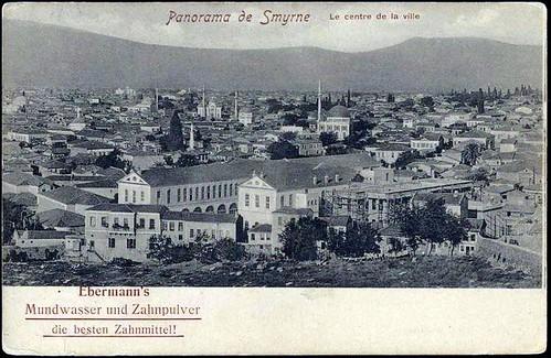 Karpostallarda yangından önce İzmir, kent merkezi