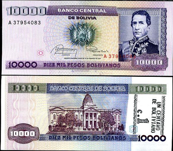 1 centovo pretlač na 10000 pesos Bolívia 1987, P195