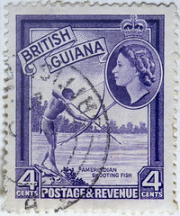 British Guiana 4 cents Amerindian shooting fish