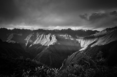 Streaks of Sunlight (TheReilDeal) Tags: peru peruvian southamerica incatrail andesmountains blackandwhite mountains