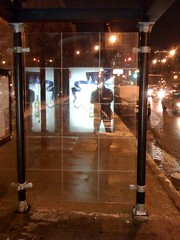 Thinking if I stand close to the illuminated ad in the bus shelter, it might radiate some heat