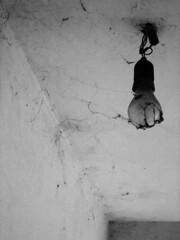 La lampadina di ragnatela - The bulb of web. (sinetempore) Tags: blackandwhite muro lamp wall bulb cobweb biancoenero lampadina ragnatela blackwhitephotos