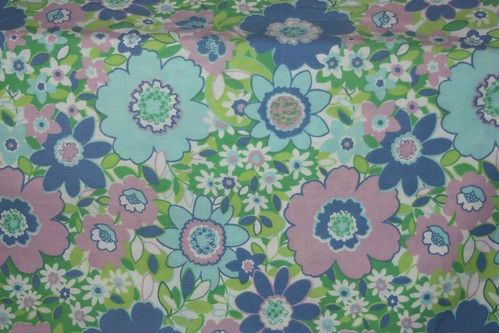 Purple & Aqua Full Flat Sheet Vintage