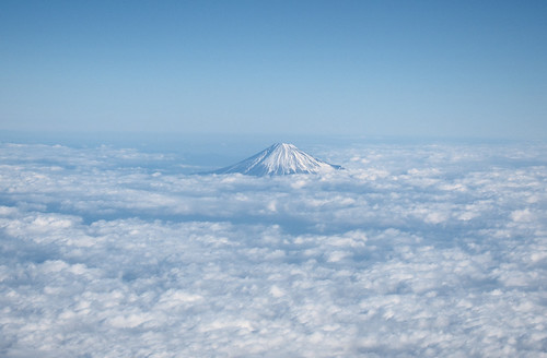 the aerial view of Mt. Fuji