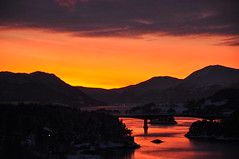 Winter sunset in Norway (ystenes) Tags: bridge sunset mountain norway landscape photography norge photo nikon foto norwegen fjord 1001nights landschaft fjell norvege fotografi bilde mreogromsdal magiccity d90 e39 tingvoll nordmre nikond90 aspya krifast bestofmywinners 1001nightsmagiccity mygearandmepremium mygearandmebronze mygearandmesilver straumsundbrua magiccty flickrstruereflection1 flickrstruereflection2