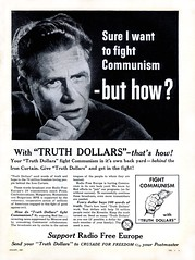 "1957 - ""Truth Dollars"" to Fight Communism (clotho98) Tags: usa man vintage magazine for freedom truth fifties unitedstates russia ad ephemera advertisement 1950s 1957 reds mccarthy coldwar psa commies ironcurtain communists womensday radiofreeeurope publicserviceannouncement womansday dollarscampaign"