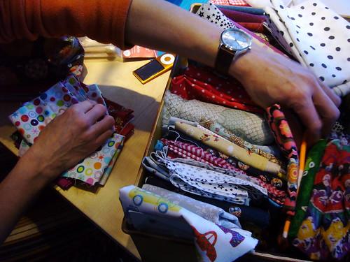picking fabrics.