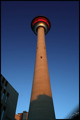 Calgary Tower Early Morning (Jon Downs) Tags: morning canada building calgary tower art digital canon downs landscape eos photo jon flickr artist image picture pic photograph 400d jondowns