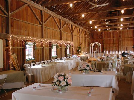 Pavilion decorated for wedding reception