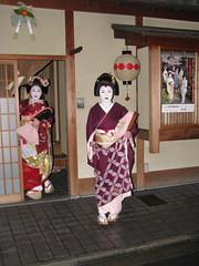 Maiko Ichimomo  and Geiko Ichimame  (Iniwa) Tags: japan kyoto maiko geiko geisha      kamishichiken  kitanoodori  ichimame ichiteru naosome katsuru      umehisa ichimomo