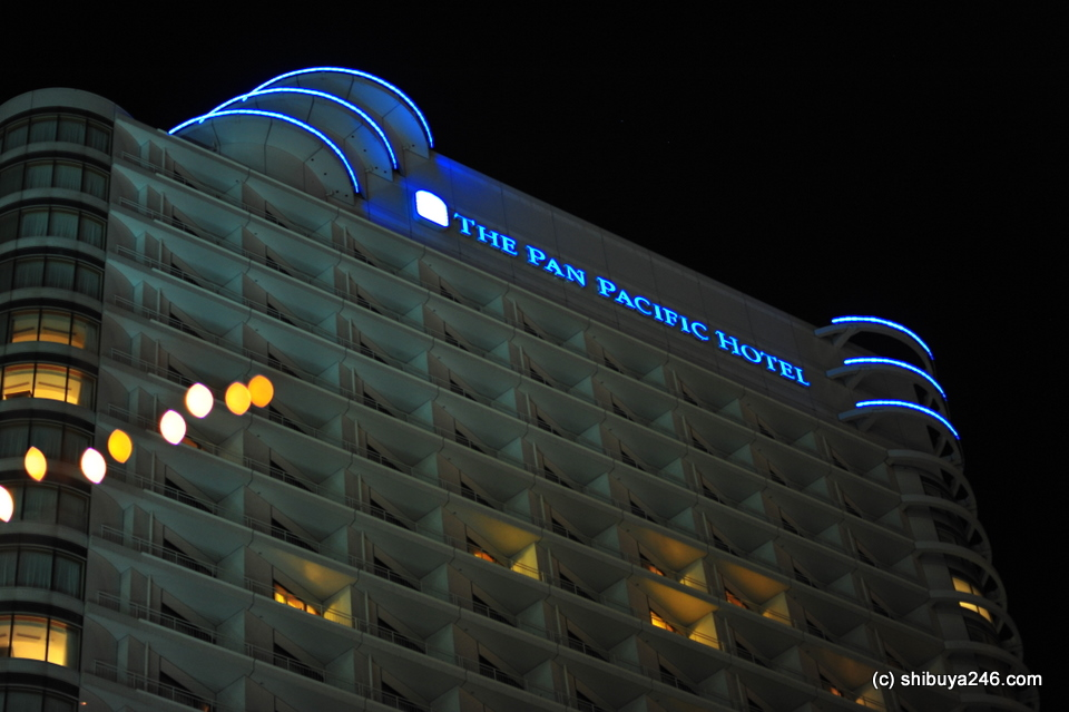 We stayed at the Pan Pacific Hotel which is now owned by Tokyu Hotels.