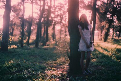 フリー画像| 人物写真| 女性ポートレイト| アジア女性| ドレス| 森林/山林|      フリー素材|