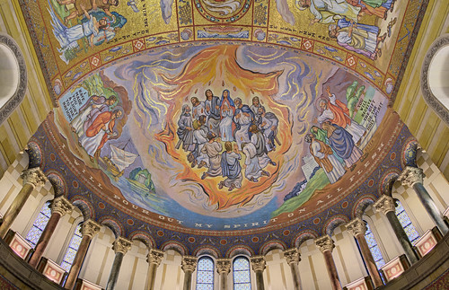 Cathedral Basilica of Saint Louis, in Saint Louis, Missouri, USA - Pentecost mosaic in west transept