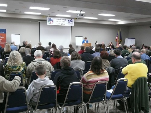 A large audience participates in the Albany jobs forum