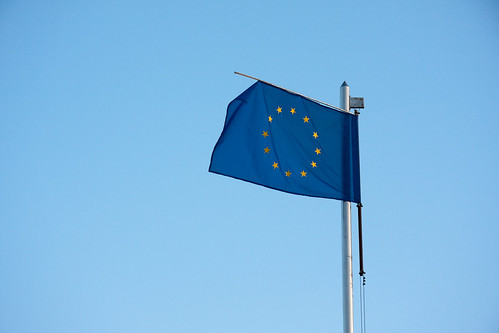 Worn out European Union flag