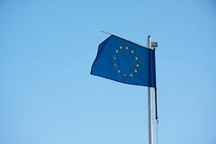 Worn out European Union blue flag