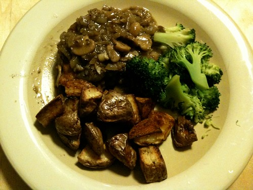 Recipe Project #3:  smothered pork chops, roasted potatoes with Hungarian paprika, broccoli
