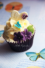 Butterflies &  Dots! (Bella Cupcakes (Vanessa Iti)) Tags: blue wedding silver purple butterflies swirls dots embossing buttercream cupcaketower bellacupcakes