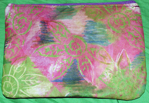 zipper pouch pink green