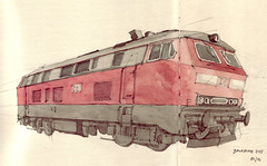 Baureihe 215 (Flaf) Tags: colour water pencil drawing railway bahnhof bahn locomotion oberstdorf deutsche lokomotive diesellok