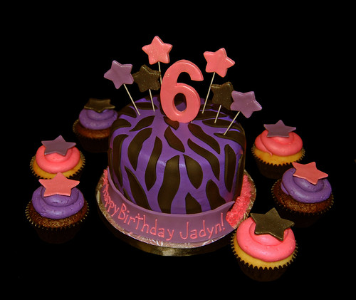 pink and purple zebra print rock star 6th birthday cake