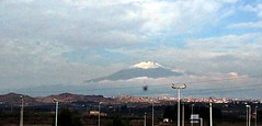 Mt. Etna from a speeding car on the motorway from Siracusa to Catania.