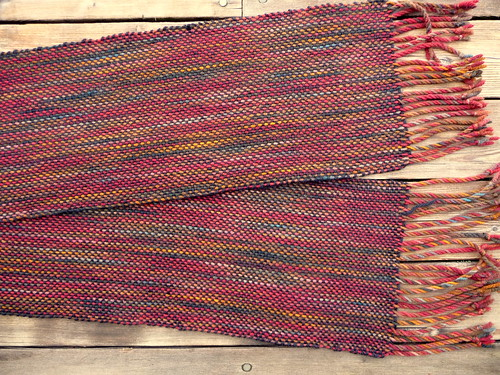 scarf with painted skein warp