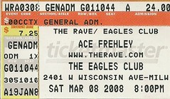03/08/08 Ace Frehley @ Milwaukee, WI (Ticket)