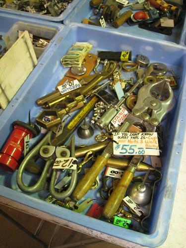 tools in a bin