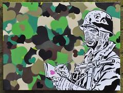 Men love war (id-iom) Tags: street uk urban stencils london notebook soldier graffiti book heart vandalism spraypaint bandages idiom helemt